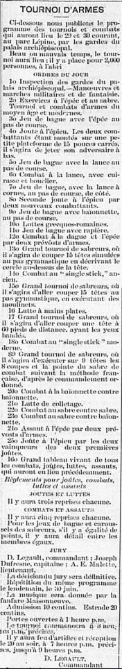 Etendard 1 juillet 1889 tournoi parc lepine programme