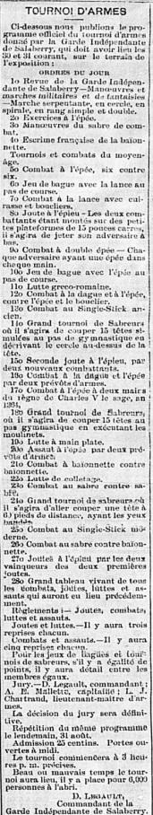 etendard 29 aout 1890 tournoi programme